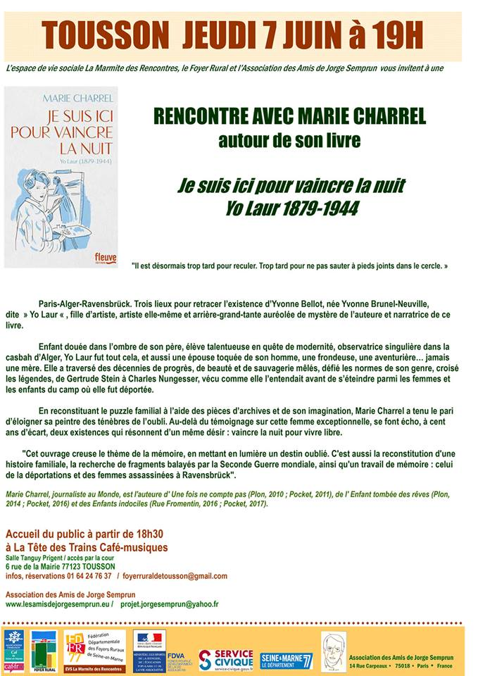 invitation rencontre Marie Charrel - Tousson 7 juin 2018